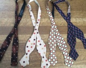 Vintage Bow Ties / Lot of Four Vintage Bow Ties / Unique Vintage Bow Ties / Retro Bow Ties
