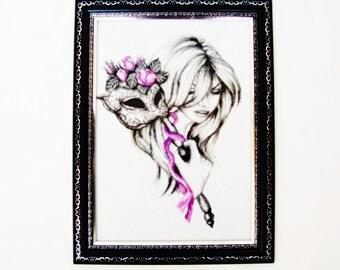 """Handmade gobelin Needlepoint tapestry """"The mask"""" Desktop picture"""