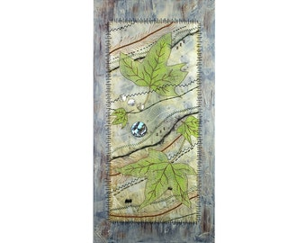 Mixed Media Fiber Art Quilt on Canvas,  Eco Dyed Fabric, Leaves and Fibers