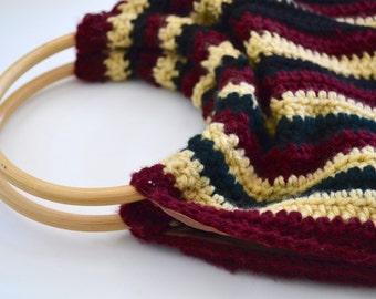Retro 1970s Crochet Wood Handle Handbag, Handmade Vintage Striped Wool Purse