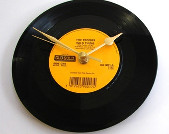 """THE TROGGS Clock """"Wild Thing"""" made from a recycled vinyl 7"""" record Retro 1960s pop rock boyfriend girlfriend husband wife anniversary gift"""