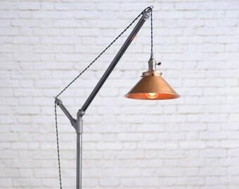 Modern Floor Lamp - Industrial Floor Lamp - Copper Shade - Edison Bulb  - Industrial Furniture - Steampunk - Geometric Lamp