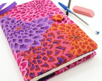 Floral Journal Cover, Pink Moleskine Cover, Quilted Diary - Pink Purple and Orange Flowers - 5 x 8 Writing Journal Cover
