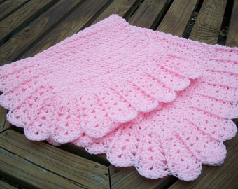 """Baby Girl Blanket/Afghan Hand Crocheted Beautiful Shell Border Baby Pink Yarn 38"""" Square READY TO SHIP"""