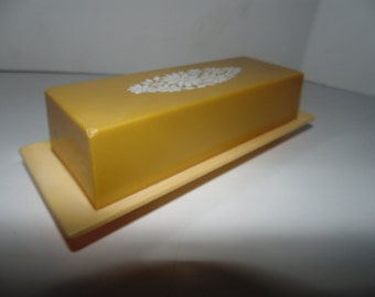 Vintage Yellow Flower plastic Butter Dish with Lid Retro