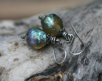 Rustic Boho Mystic  Shimmering Artisan Lamp work earrings n218- short bohemian sterling silver artisan ancient labradorite look glass