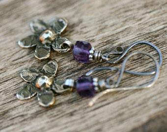 Rustic Brass Cast Flower 'Flora' earrings n76- boho jewelry . minimalist delicate flower earrings . amethyst stone . cast flower . bohemian