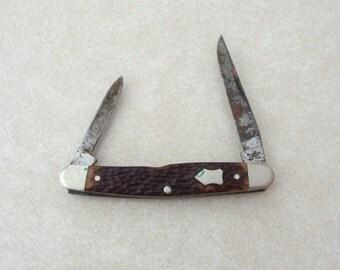 Vintage Western Boulder 2 Blade Pocket Knife No. 652, Bone Handle?