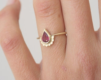 pear shaped engagement ring 14k gold ring set with a pear shape ruby wedding - Teardrop Wedding Rings