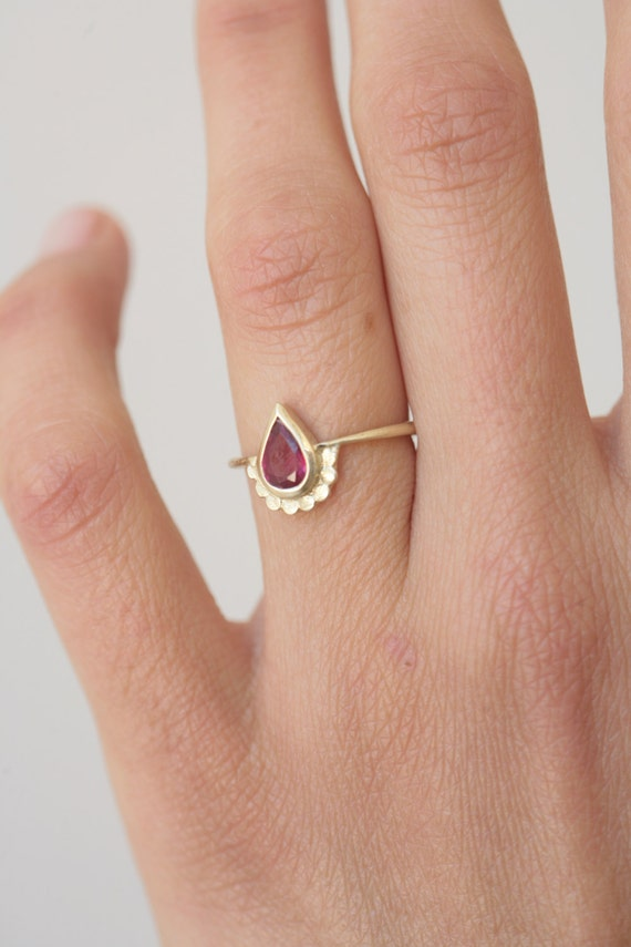 pear shaped engagement ring 14k gold ring set with a pear shape ruby wedding ring yellow gold alternative engagement ring handmade - Pear Shaped Wedding Ring Sets