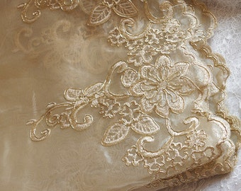 champagne lace trim with gold alencon floral