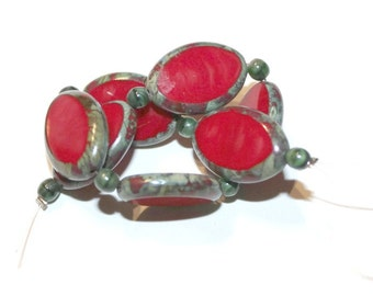 Red Czech Glass Beads with Picasso Finish - 18x12mm (036)