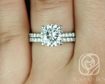 Sarah 8.5mm 14kt White Gold Round F1- Moissanite and Diamonds Classic Non-Cathedral Wedding Set (Other metals/stone options available)