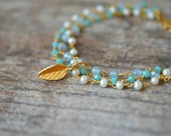 Gold leaf bracelet Dainty multi layer dangle bracelet Multistrand bracelet Green chalcedony Delicate bracelet Rosary chain bracelet