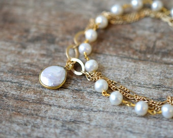 Coin pearl bracelet Freshwater pearl dangle Gold chain bracelet Beaded rosary chain multistrand bracelet Multi layer bracelet Pearl jewelry