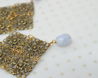 Antique gold filigree earrings Boho dangle earrings with blue lace agate bead drop Lightweight earrings Tudor Medieval Renaissance jewelry