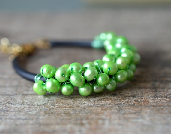 Neon green pearl bracelet Wire wrapped pearl cuff bracelet Freshwater pearl cluster bracelet Colorful summer fashion jewelry