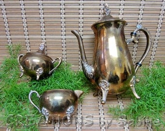 Teapot Creamer Sugar Set, Gold Plated Copper Patina Ornate Teatime Coffee Electroplated Footed Pitcher Tableware Vintage FREE SHIPPING (429)