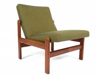Danish Mid Century Modern Teak Slipper Chair by Jorgen Baekmark
