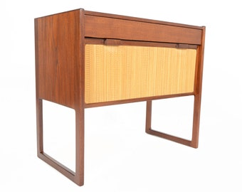 Danish Modern Mid Century Teak + Grasscloth Entry Chest