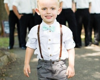 Boys Leather Suspenders Toddler braces Bow tie Men's Suits Rustic Barn wedding outfit Kids skinny Leather suspenders baby bowtie Easter gift