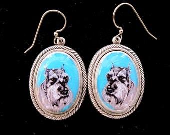 Schnauzer Handmade Sterling Silver Plate Earrings