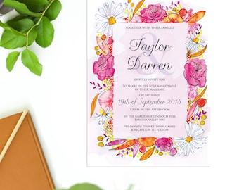 Pretty Daisy Floral Wedding Invitations Pink Orange  Watercolours  Wedding Invites Botanical