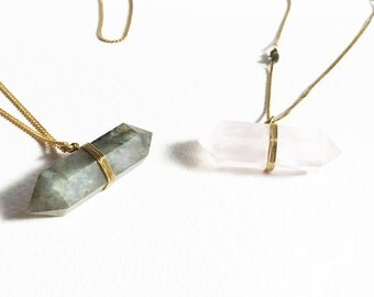 Long Pointed Gemstone Pendant Necklaces with Beaded Chains Rose Quartz or Ladradorite