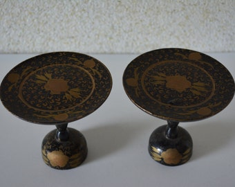 Japanese Hina doll display stands, urushi lacquerware on wood