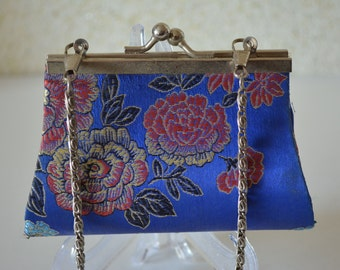 Young girl's handbag, blue brocade, wedding purse, flower girl, vintage Japanese