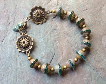 "Aqua Czech Glass Bead Bracelet / One-of-a-Kind / Picasso Finish / Antique Brass Beads / Metallic / Green / Aqua Charms - 8"" long - B70"