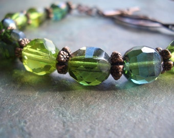 "Czech Glass Bracelet / One-of-a-Kind / Lime / Moss Green / Bead / Copper / Leaf / Flower / Teal / Charm / Metal / Toggle - 8"" long - B50"