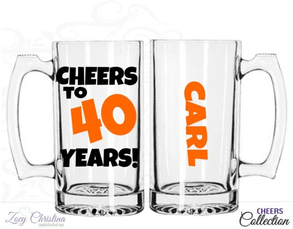 Cheers to 40 years beer mug birthday beer mug by ZoeyChristina