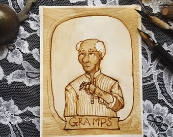 Gramps - A Steampunk Family Portrait - Original Sepia Ink Art