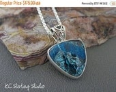 20% off Summer Sale - Shattuckite ocean blues and sterling silver pendant necklace - metalsmith silversmith