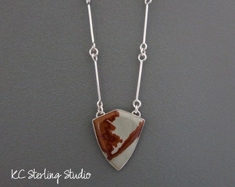 Brown and gray owyhee jasper and sterling silver pendant necklace - silversmith