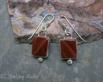 Natural red jasper silversmithed sterling silver dangle earrings