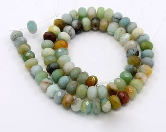 Amazonite Beads, 5x8mm Faceted Rondelle - full strand - eGX-AG001-8x6