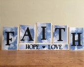 FAITH HOPE LOVE Wood Block Sign, Religious Sign, Home Decor, Fireplace mantel, religious decor, easter, clouds, wood sign, home and living
