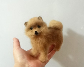 Sculpture Puppy Dog Breed Pomeranian Spitz - Needle Felt - OOAK