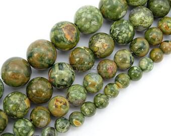 Natural Rhyolite Kambaba Jasper Gemstone Round Beads 15.5'' 4mm 6mm 8mm 10mm for Jewelry Making Crafts