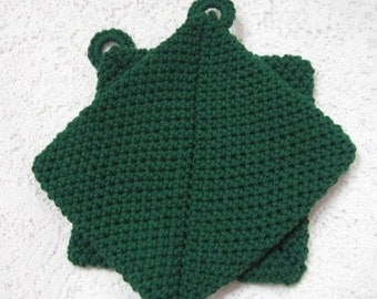 Pot Holders Pair Cotton Double Thick - Dark Green Hot Pads Pine Green Thick Trivet