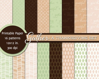 PRINTABLE • 12x12 Digital Paper Pack • Thanksgiving: Gather • INSTANT DOWNLOAD