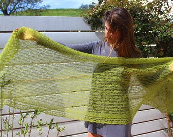 Victorian lace shawl, beautifully hand knitted in a lovely lime green kid-mohair & silk blend yarn