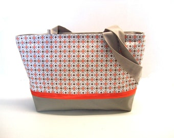 shoulder bag grey and orange graphic prints in faux leather and canvas handbag zippered bag