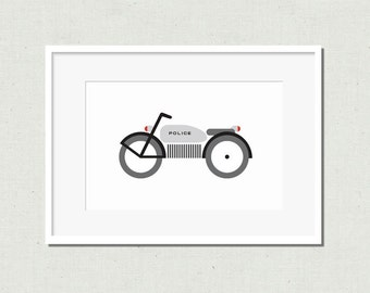 Nursery art, motorcycle print, colorful nursery art, modern nursery art, kids room decor, nursery decor, nursery wall art, police, moto