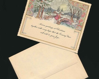 vintage paper, Christmas card, matching lining, old fashioned scene, 1920s
