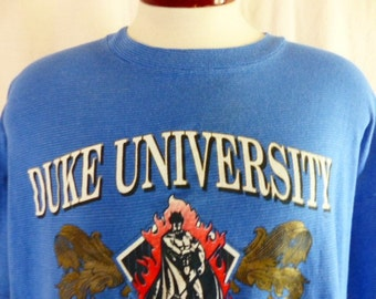 Go Blue Devils vintage 90s Duke University horizontal stripe blue light blue graphic t-shirt mascot red white metallic gold varsity ncaa xxl