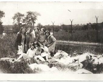 Old Photo Teen Girls Having Picnic 1920s Photograph snapshot vintage