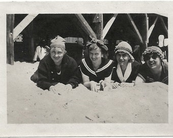 Old Photo Women wearing Swimsuits and Caps at the Beach Asbury Park New Jersey 1910s Photograph snapshot vintage